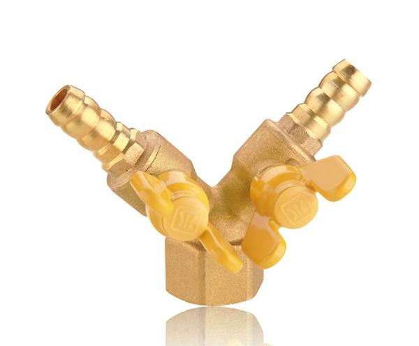 黄铜内螺纹双接管防泄漏燃气球阀